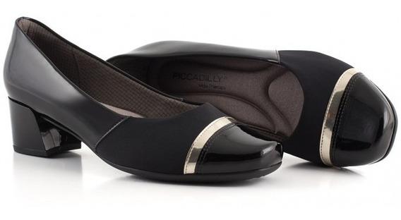 Sapato Feminino Piccadilly 320282 Preto Joanete Salto Baixo