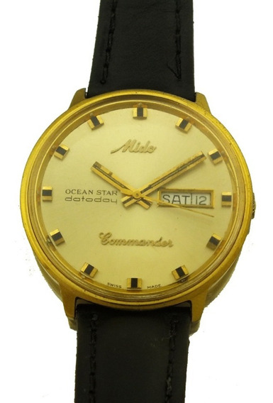 Relógio Pulso Mido Commander Ocean Star Plaquet Ouro J22259