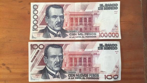 Billetes 100 000 Y 100 Nuevos Pesos (el Par)
