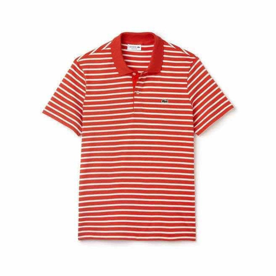 Polo Lacoste Regular Fit A Rayas Color Etna Red Original