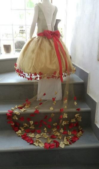 Vestido Dorado Con Rojo, Con Cola Para Niña De 8 Años