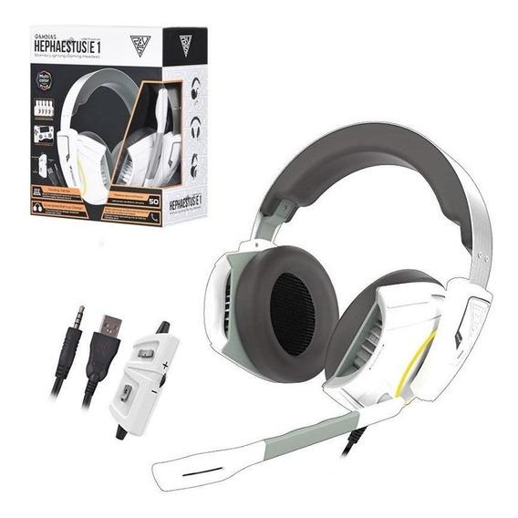 Headset Gamdias Hephaestus E1 Branco Rgb Usb Pc Ps4 Xbox One