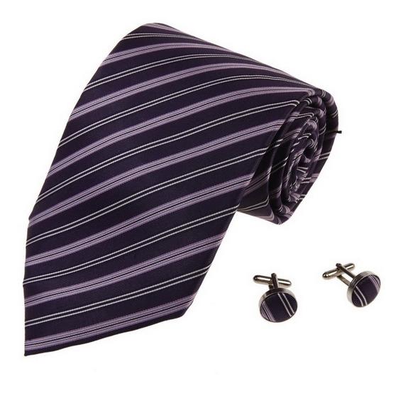 Corbata Y Mancuernillas Tonos Purpura Marca Y&g 100% Seda