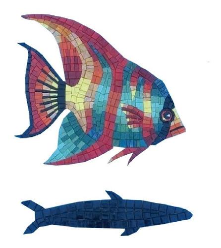 Imagen 1 de 9 de Figura Mosaico Pez Payaso De 35 Cms.con Sombra Para Alberca