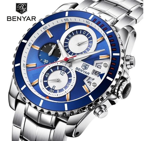 Relógio Masculino Benyar 5127 Original 30 Metros Azul Inox