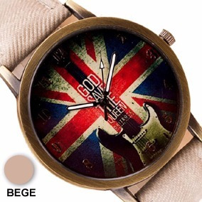 Relógio Vintage Bandeira Inglaterra Pulseira Tecido Bege