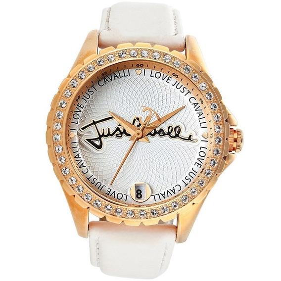 Relógio Feminino Ouro Rose Original Just Cavalli Couro Legitimo Branco Dourado