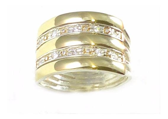 Anel Feminino 5 Elos Prata 950 3 Filetes Ouro - Frete Grátis
