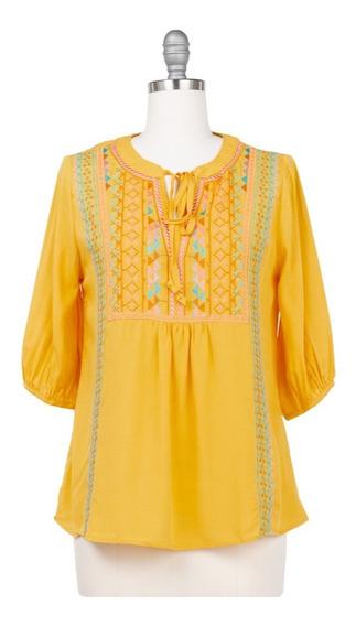 Blusa De Vestir Con Lazo, Bordado Etnico, Casual, Primavera.
