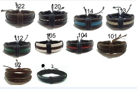 Kit 20 Pulseiras Couro Bracelete Somente R$ 2,00 Unid