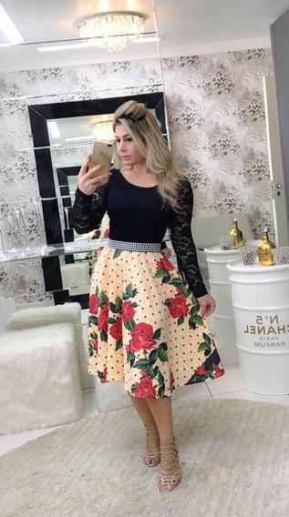 Vestido Midi Godê Manga Longa Brinde Cinto Cetim E Pérolas