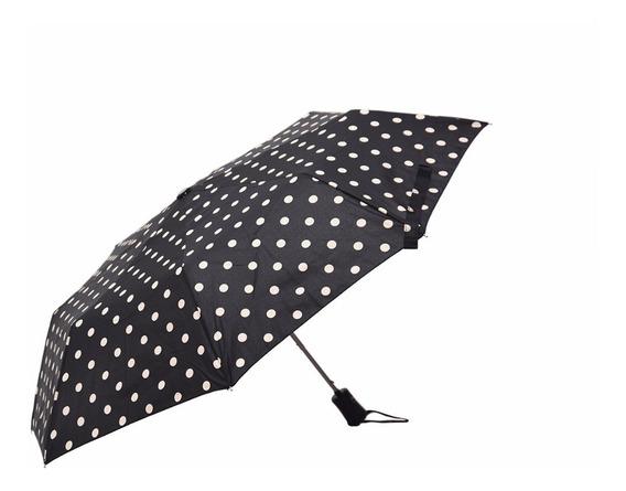 Paraguas Corto Automático Antiviento Negro Lunar
