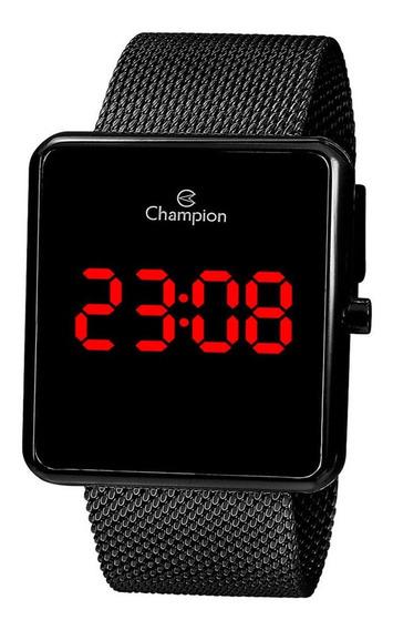 Relógio Champion Original Digital Unissex Aço Preto Ch40080d