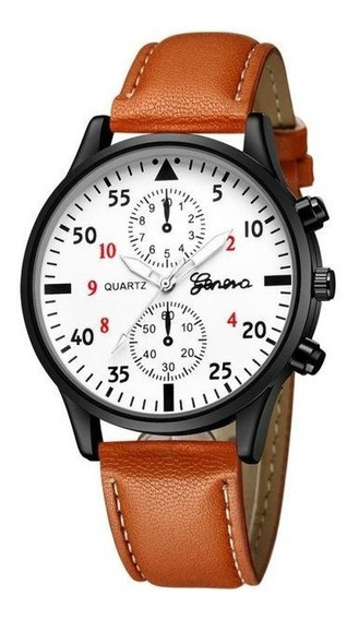 Relógio Military Quartz Masculino Pulseira De Couro Luxo
