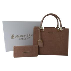 Bolsa + Carteira Feminina Croco Amanda Brazil Pronta Entrega