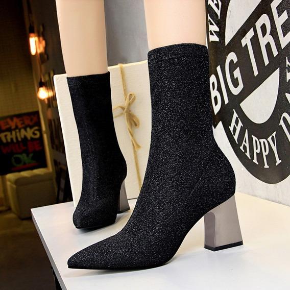 Zapatos De Tela Y Goma Botas De Plataforma Moda Mujer 2019