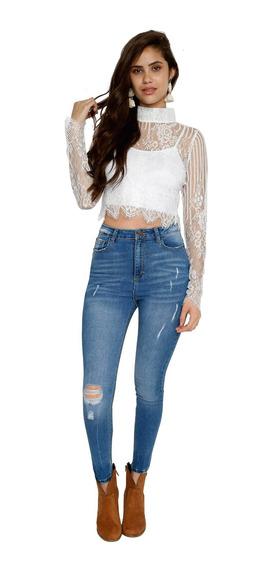 Pantalón Jeans Mujer Mezclilla Azul Alta Cintura Desgaste