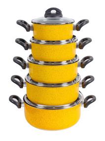 Jogo Caçarolas Antiaderente Coloridas 5pçs Tampa De Vidro