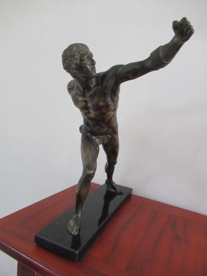 Escultura Em Bronze Guerreiro Gladiador Borghese