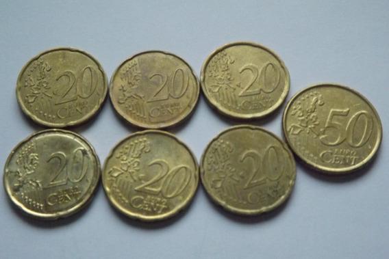 6 Moedas 20 Cent Euro E 1 Moeda 50 Cent Euro Entre 99 E 07