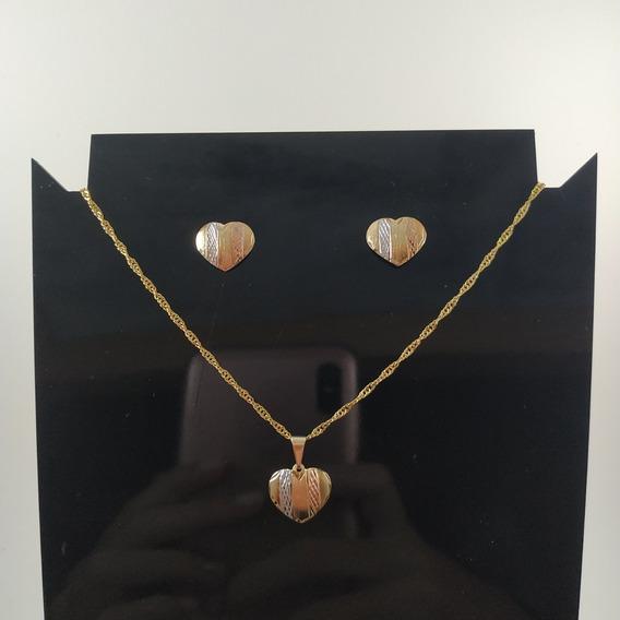 Conjunto Colar E Brinco De Coração - Folheado Ouro 18k
