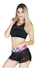 Short Saia Feminino Dry Estampado Tulle Suplex Fitness 131