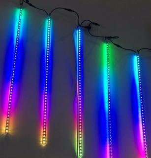 Luz Navidad Tubo Led Lluvia De Estrellas Azul Calida Y Rgb