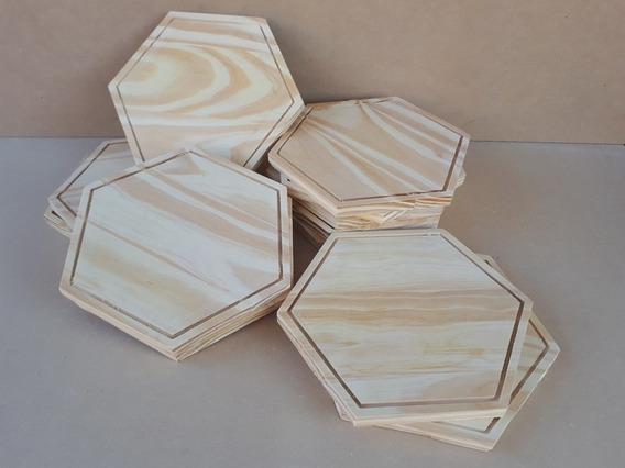 Platos De Madera Hexagonales