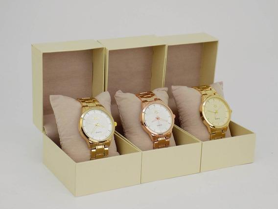 Kit 3 Relógio Feminino Strass 100% Original Barato