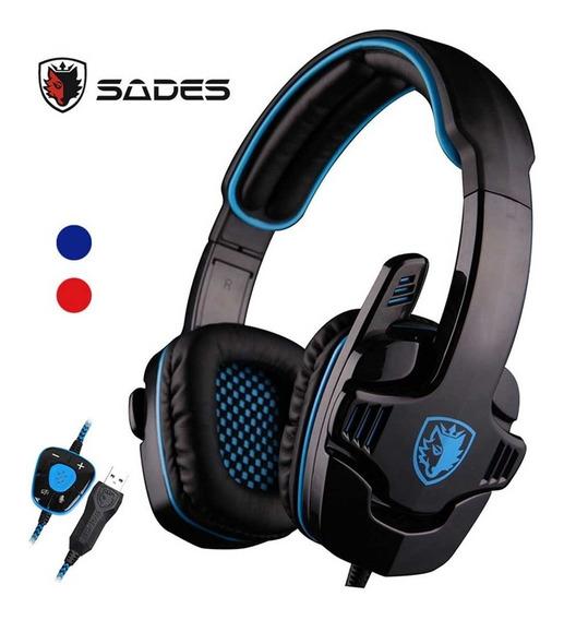 Sades Sa901 7.1 Surround Sound Gaming Headphone Azul