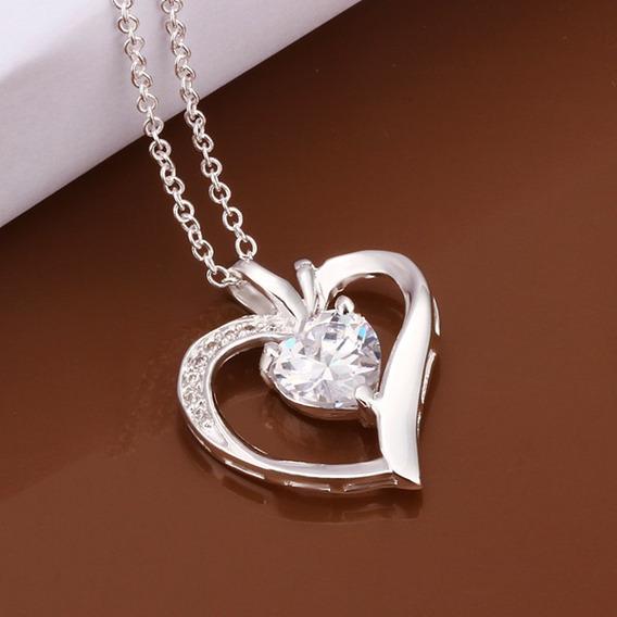 Corrente Colar Prata 925 Coração Pedra Zirconia