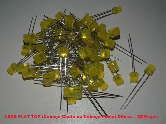 100 Leds 5mm Difusos Flat Top Amarelo Amarelo Com Suporte