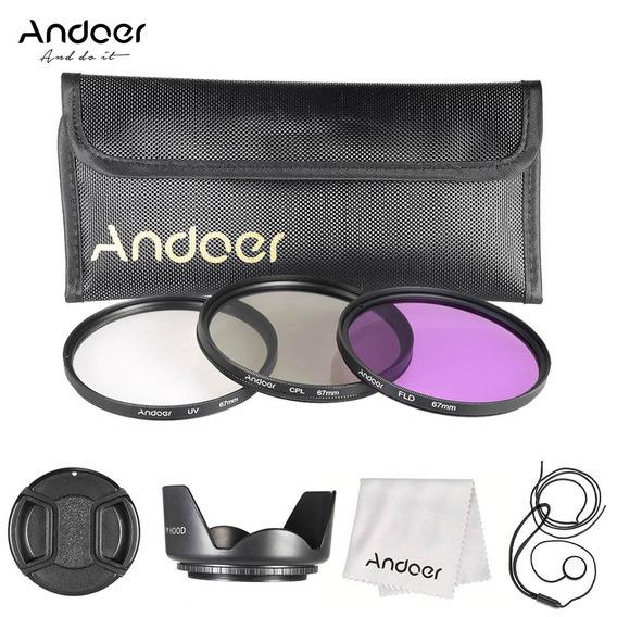 Andoer Kit De Filtro De 67mm (fld + Uv + Cpl) + Nylon Carreg