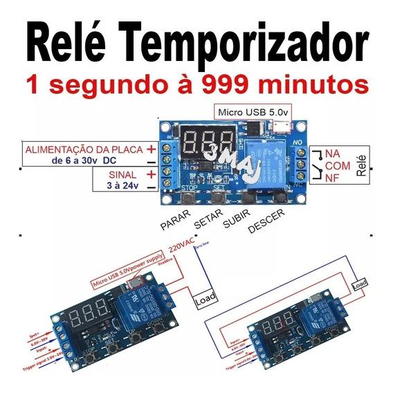 Timer Temporizador Relé 5v-30v Dc Ajustável Até 999 Minutos