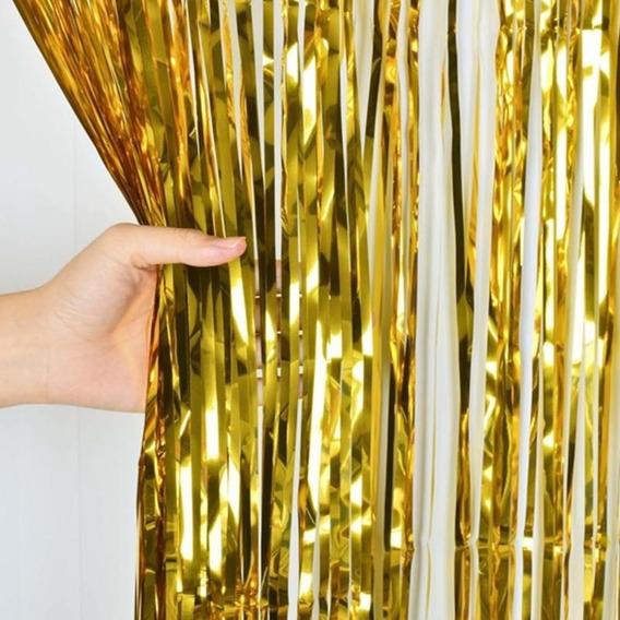 Cortina Metalizada Decorativa Dorada 100 X 200 Cm