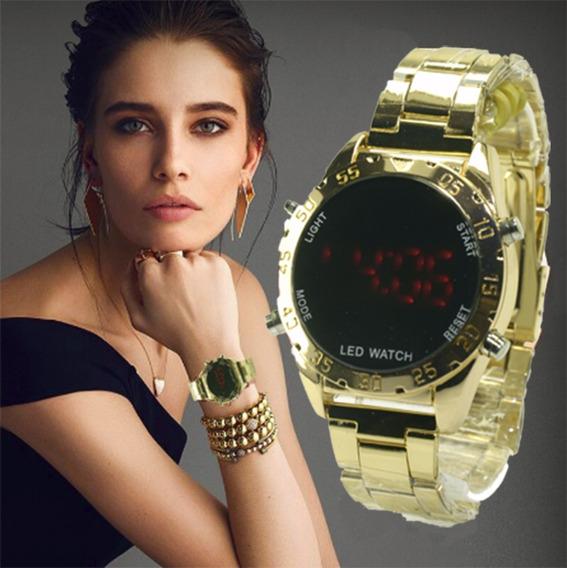 Relógios Unissex Led Dourado Lindo E Barato Pronta Entrega.