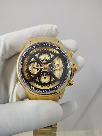 Relógio Dourado Em Aço Inoxidável Naviforce