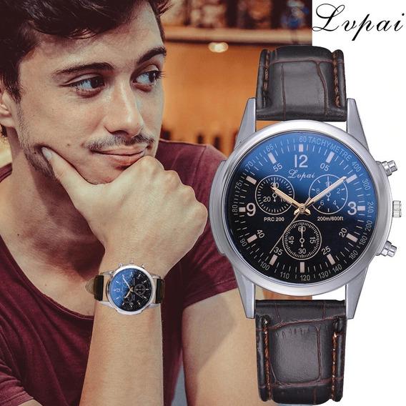 Relógio Luxo Masculino Lvpai Pulso Social Pulseira Couro