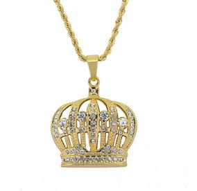 Colar Coroa Majestade Princesa Corrente Folheado A Ouro