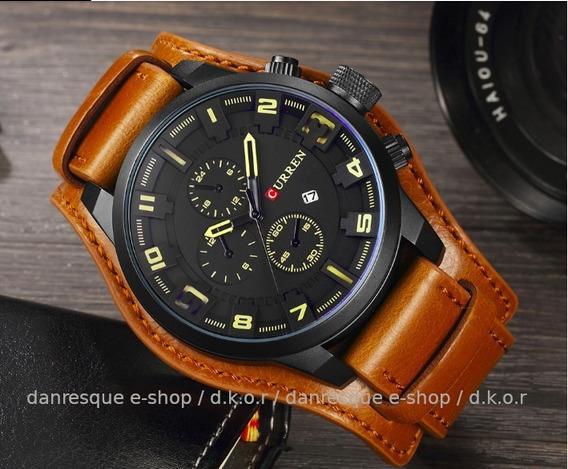 Relógio Curren 8225 Masculino De Luxo Cor Marron Ou Preto Analógico