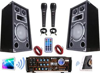 Amplificador Karaoke Usb Bluetooth 2 Bafles 2 Micrófonos