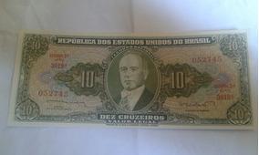 Cédula Nota 10 Cruzeiros Valor Legal 2 Estampa Serie 3019