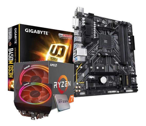Kit Processador Amd Ryzen 7 2700x Gigabyte B450m-ds3h