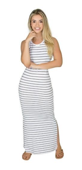 Vestido Longo Regata Listrado Listras Fenda Evangélica Verão