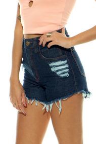 Kit2 Shorts De Cós Alto Short Jeans Feminino Short Lady Rock