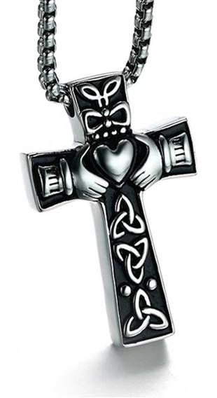Corrente Cordão Colar Pingente Viking Crucifixo Cruz Celta