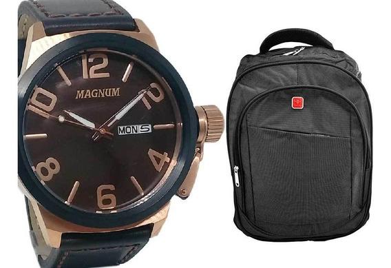 Relógio Magnum Masculino Pulseira De Couro + Mochila Cinza