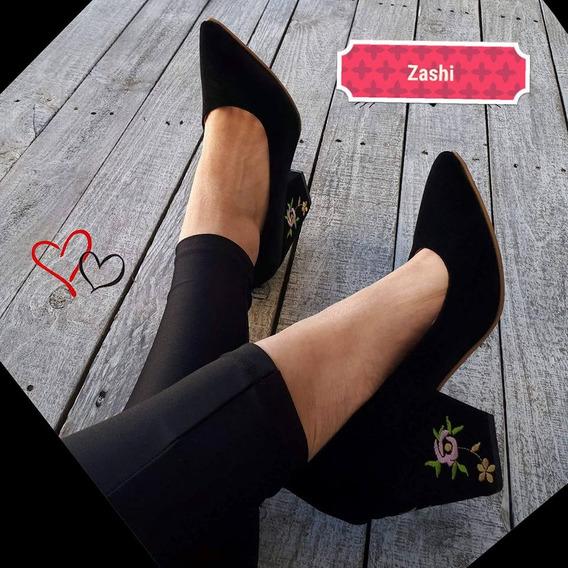 Stilettos Zapatos Con Taco Elefante Bordados Cuero Gamuzado
