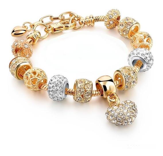 Pulseira Feminina Dourada Berloques Estilo Pandora