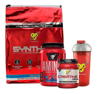 Bsn Syntha 6 10lb + Creatina Dna + Amino X 2.23lb + Vaso